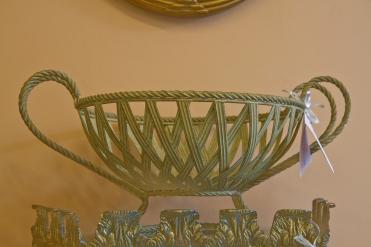 $135 Gold metal fruit basket