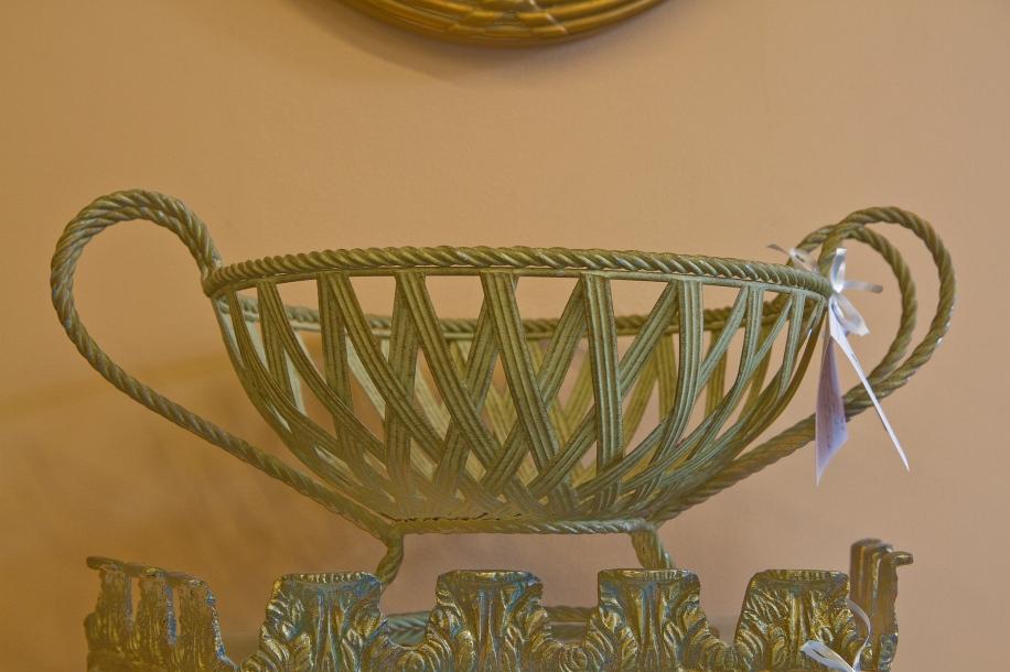 Gold metal fruit basket