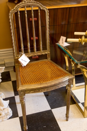 Pair of Louis XVI gold painted wood chairs