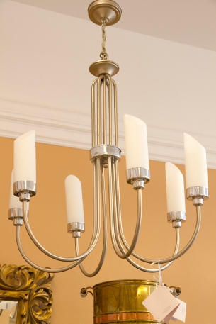 $395 Large hanging steel- 6 arm chandelier - silver brushed metal with chrome, and frosted white cylindrical shades