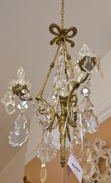 $2,300 Antique French Ormalu Chandelier with large beveled crystal hanging drops