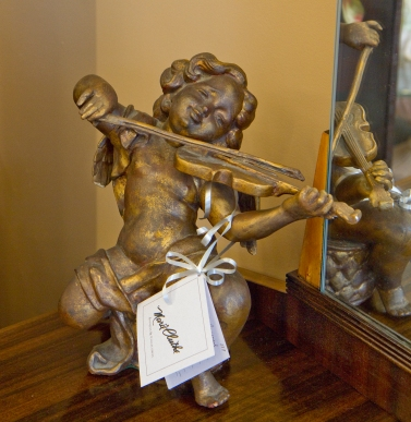 SOLD gilt wood carved putti playing violin