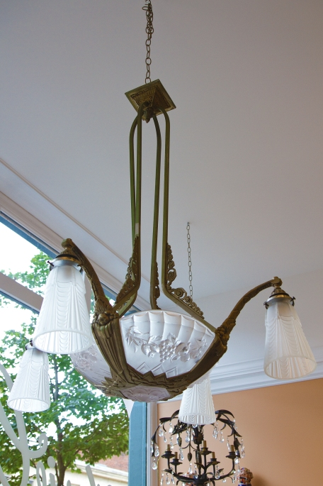 $1,940 Art Deco Chandelier brass - frosted glass shades. Signed by artist Pierre Gilles.