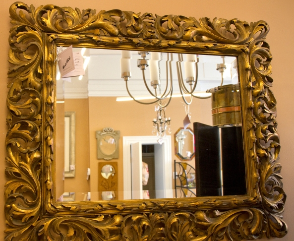 $895 Rococo style hand carved wood framed beveled mirror. Italian circa 18th century