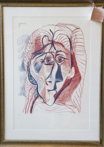 $1,500 Pablo Picasso - Visage de femme de face circa 1970. Limited edition lithograph on Arches paper 447/500. Stamped and signed by granddaughter Marina from her Marina Picasso Estate Collection