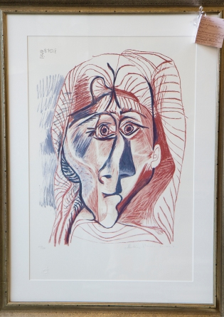 Picasso litho - Visage de femme de face - signed by Marina Picasso - 1970s