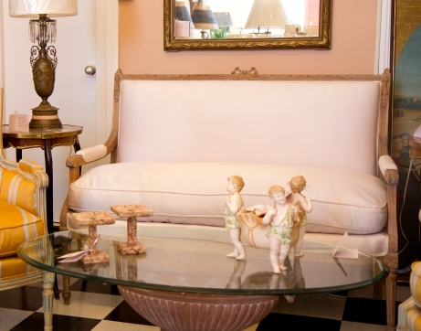$3,200 Walnut Louis XVI Canapé, silk covered with down cushion.