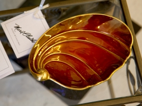 Burgundy and gold candy dish