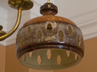 $275 Vintage mid-century ceramic hanging lamp
