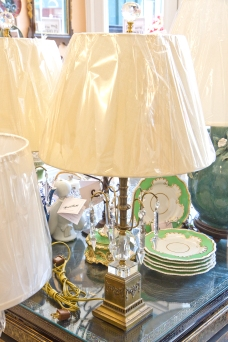 $850 for both. Pair of ornate carved metal regency lamps with decorative cut crystal ball and base and large hanging cut crystal pendants. Linen shades and cut crystal ball finials