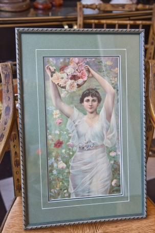 Print of woman with flower basket - matted and framed