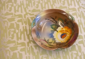 Hand painted floral dish