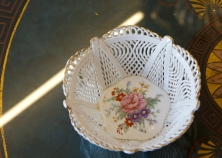 $45 Woven porcelain candy dish with gold trim