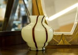 $40 Cased glass vase. Pale green and chocolate swirl. Czechoslovakia circa 1930s