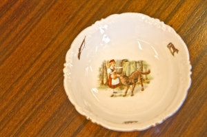Small German bowl. Red Riding Hood and Big Bad Wolf. Circa 1900