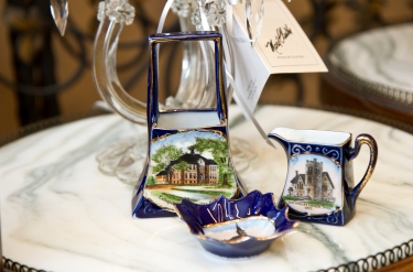 Set of German-made pitcher, dish and basket depicting Ontario architecture