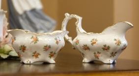 $35 Hammersley bone china creamer and sugar bowl. England.