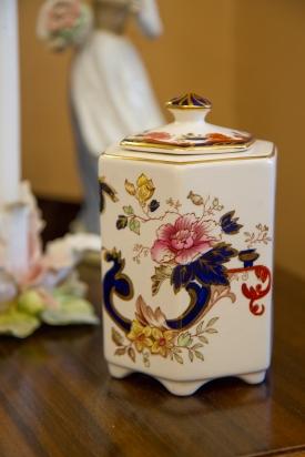 $45 Mason's Ironstone blue Mandalayhexagonal tea caddy. Mid-century.