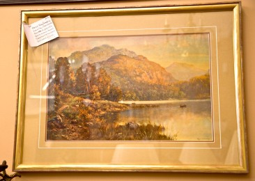 SOLD Loch Tay - Perthshire in Scottish Highlands. Artist Roy Gregory. Warm autumn tones embrace shepherds and boaters. Gilt wood frame