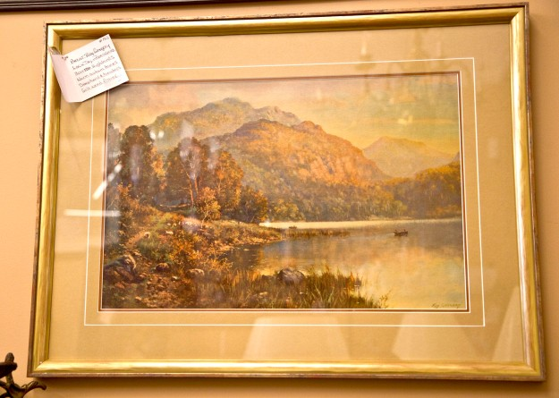 $165 Loch Tay - Perthshire in Scottish Highlands. Artist Roy Gregory. Warm autumn tones embrace shepherds and boaters. Gilt wood frame