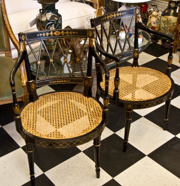 Edwardian black & gold painted wood armchairs with cane seats