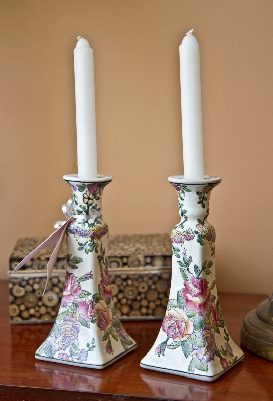 Ceramic floral candlestick holders