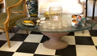 $290 Decorative composition fluted base table with large oval bevelled glass top