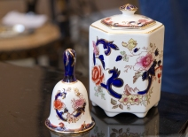 Mason's Ironstone blue Mandalay ceramic bell and tea holder. Sold separately. Mid-century