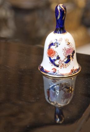Mason's Ironstone blue Mandalay ceramic bell. Mid-century.