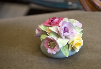 Vintage hand painted floral bone china bouquet vanity decoration. Staffordshire, England.