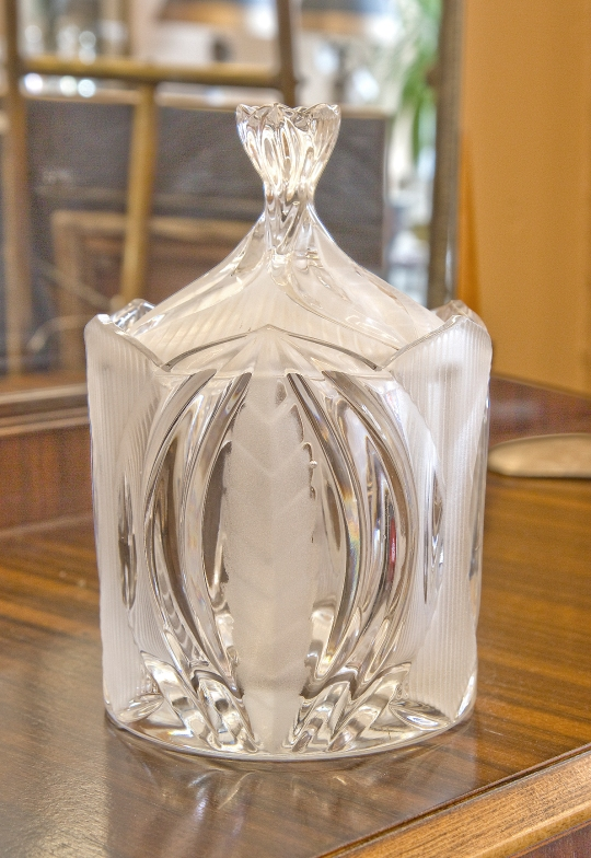 Heavy covered glass jar. Etched frosted leafy pattern.
