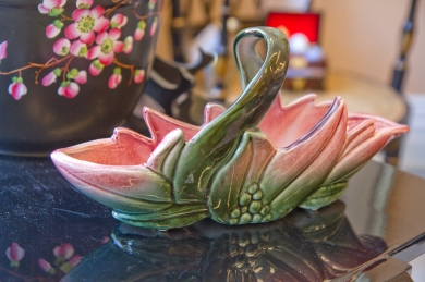 $25 Serving basket. Ceramic green to pink ombre