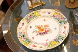 $40 Antique floral decorative plate with gold trim and open work.