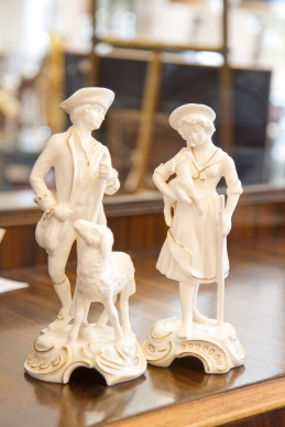 $225 for both. Goebel Bachmann vintage sheep herders. White with 24k gold.