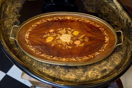 $135 Serving tray - marquetry inlay and brass handles. Italy