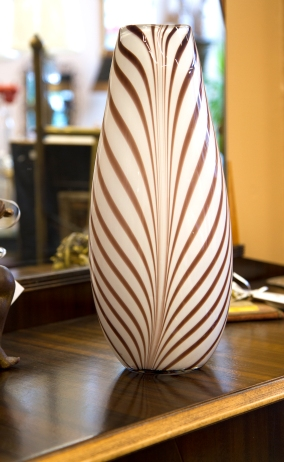 $50 Tall cased art glass vase - white with brown leafy stripe pattern