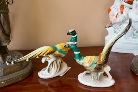$50 for both. Mid-century pair of ceramic Ring-neck pheasants. Vintage U.S.A.