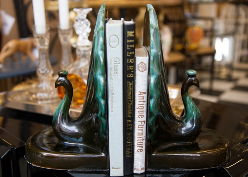 Blue Mountain Pottery peacock bookends. Mid-century Canada.