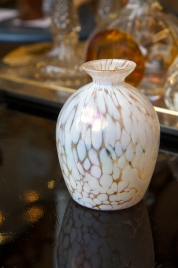 $30 Small Waldonia vase. Iridescent crystal with white spotted opalescent pattern. Mid-century. Czechoslovakia.