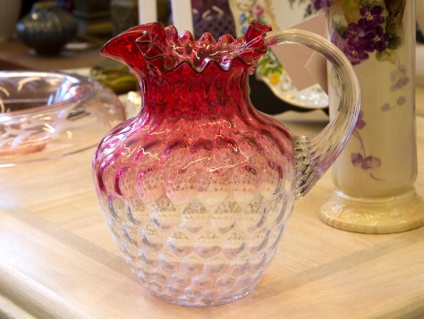 $85 Ombré cranberry glass pitcher with ruffled rim