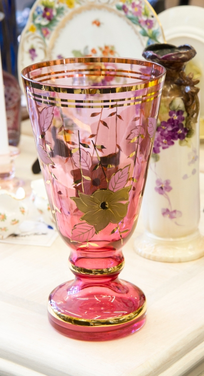 $90 Vintage Bohemia cranberry crystal, gold painted enamel flowers vase. Made in Czechoslovakia.