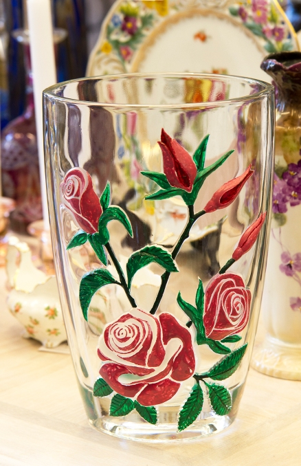 $70 French hand painted raised rose pattern heavy art glass vase