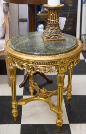 $675 Antique gold wood and marble top side table. Baroque.