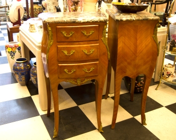 $1,850 for both. Louis XV style rosewood beside tables with marble tops and bronze. Early Mid-century design.