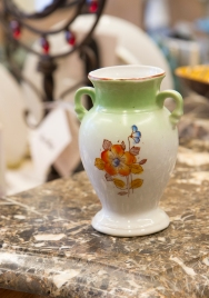 $35 Small hand painted vase. Green ombre with orange flower. Trico. Nagoya, Japan. Circa 1960