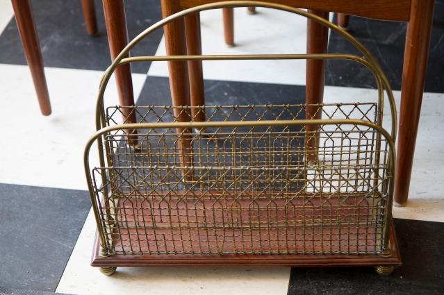 $245 Victorian Magazine Rack. Brass and Walnut Base.