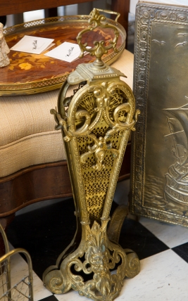 Antique Brass Fireplace Guard. Peacock Fan.