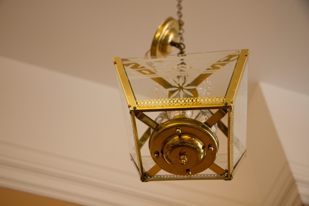 $295 VintageTapered Square Etched Glass & Brass Hanging Lamp