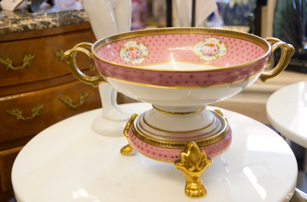 $345 Antique two-piece fruit compote on pedestal by Old Paris Ceramics. Gold handles and claw feet (style is unique to Old Paris).