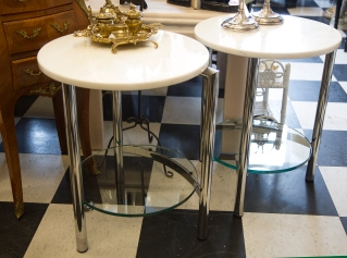 Pair of Mid-century modern marble top Chrome and Glass Tables.